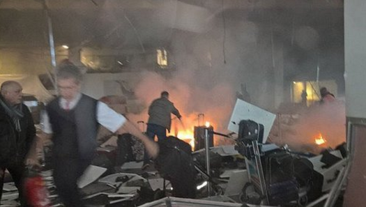 At least two explosions were heard at the airport
