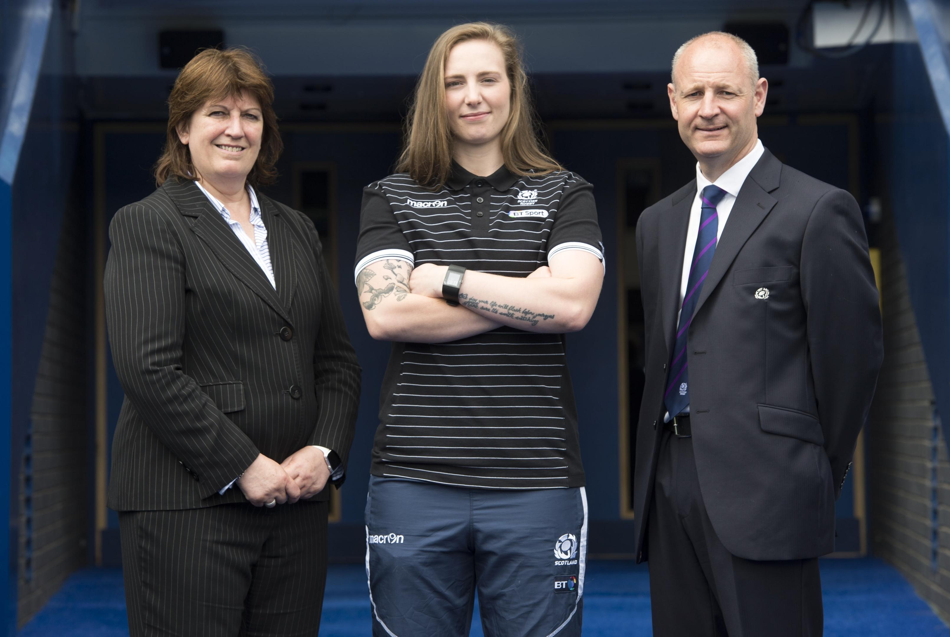 Scottish internationalist Jade Konkel and rugby chiefs Sheila Begbie and Stephen Gemmel