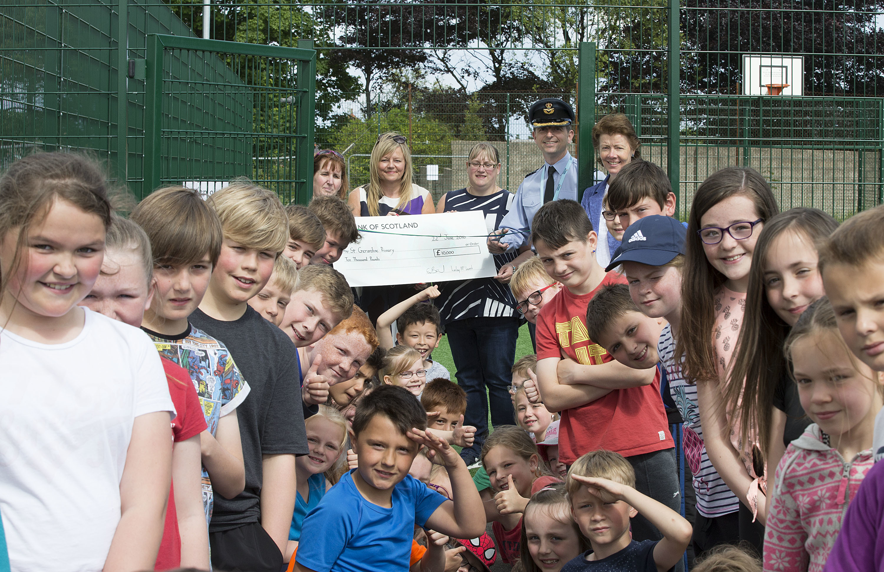 Group Captain Paul Godfrey visited St Geradine Primary School in Lossiemouth this week to open their new Multi Use Games Area (MUGA).  The MUGA has been jointly funded by a Community Covenant Grant, the Sportscotland Legacy 2014 Active Places Fund, and money raised by the School's Parent Council.  Job no:los-16-0456 Date: 22 jun 16 Description: Originator: Section: Ex:  *For more Information Contact Photographic Section, RAF Lossiemouth, IV31 6SD. Tel: 01343 817191  Crown Copyright: This image may be used for current news purposes only.  It may not be used, reproduced or transmitted for any other purpose without first obtaining a copyright license available from the MoD, Crown Copyright Unit. ipr-cc@dpa.mod.uk Job no: los_10_0  Date: (Day)/(Month)/2010 Description: Originator: Section: Ex:  *For more Information Contact Photographic Section, RAF Lossiemouth, IV31 6SD. Tel: 01343 817191  Crown Copyright: This image may be used for current news purposes only.  It may not be used, reproduced or transmitted for any other purpose without first obtaining a copyright license available from the MoD, Crown Copyright Unit. ipr-cc@dpa.mod.uk