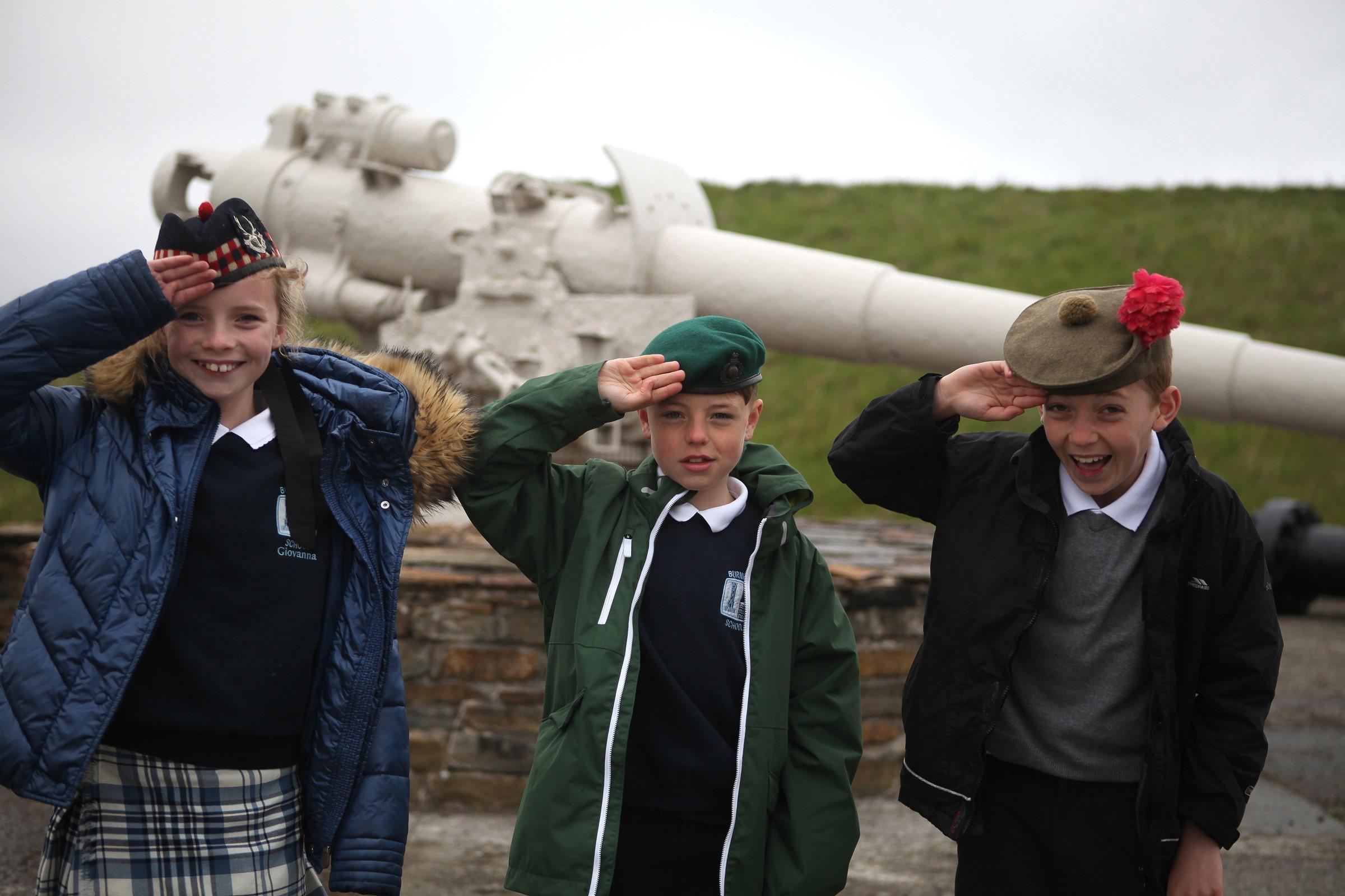 Giovanna Strachan, Miller Morrice and Euan Aiken at Scapa Flow Visitor Centre