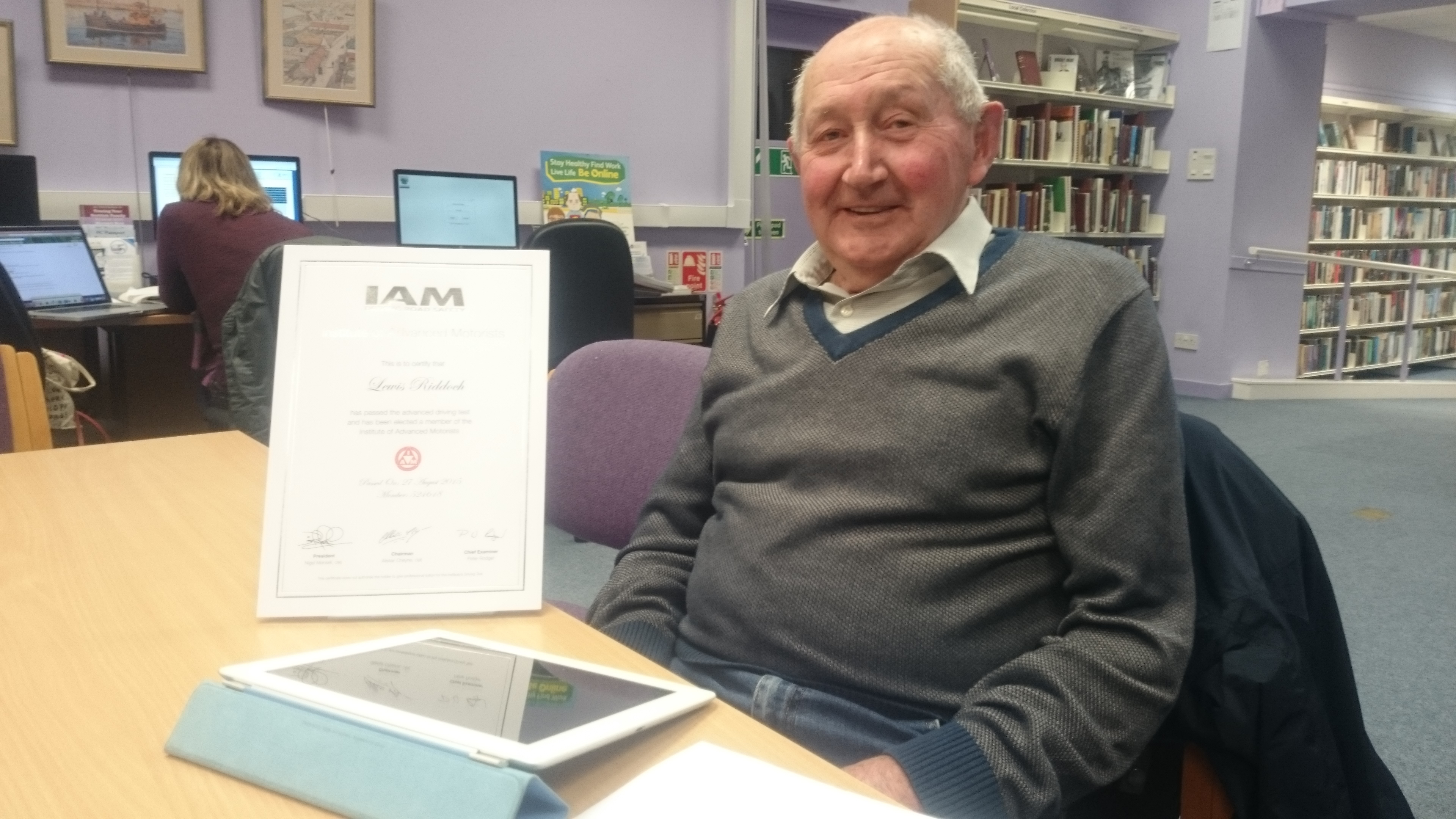 Lewis Riddoch, 80, learned internet skills after going to classes at Buckie Library.