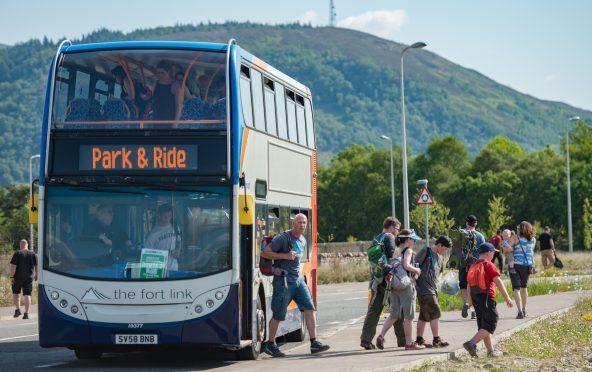 One of the many buses that ferried people between the park and ride car park on Blar Mhor and Nevis Range for the UCI Mountain Bike World Cup