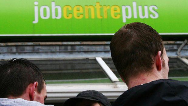 A Job Centre Plus branch, as unemployment has fallen to its lowest level since spring 2008