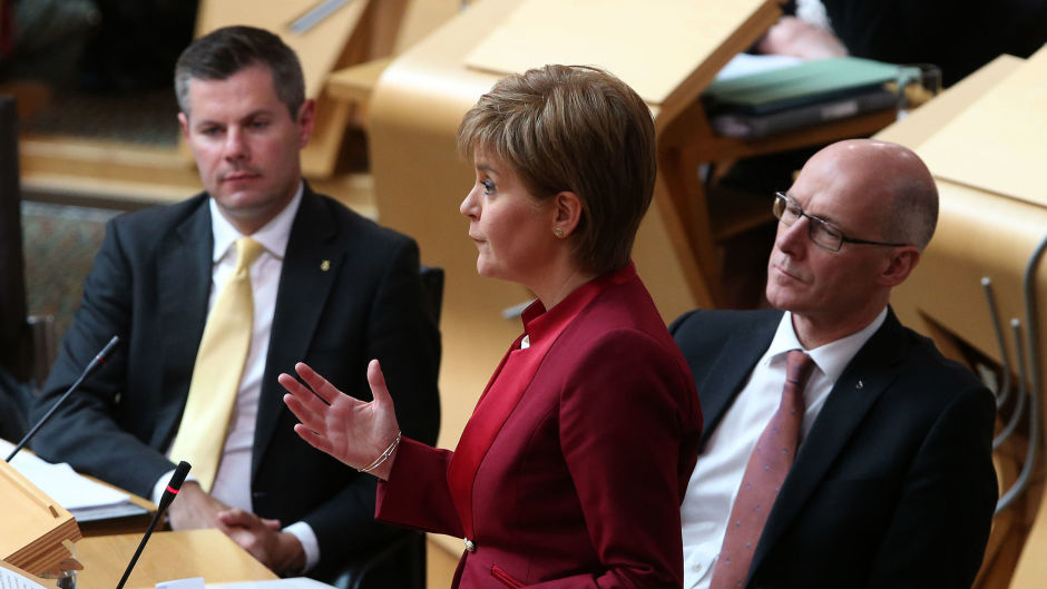 Nicola Sturgeon faces questions from party leaders and backbenchers during FMQs
