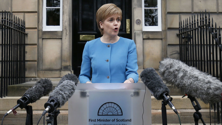 First Minister Nicola Sturgeon speaks to the media outside Bute House