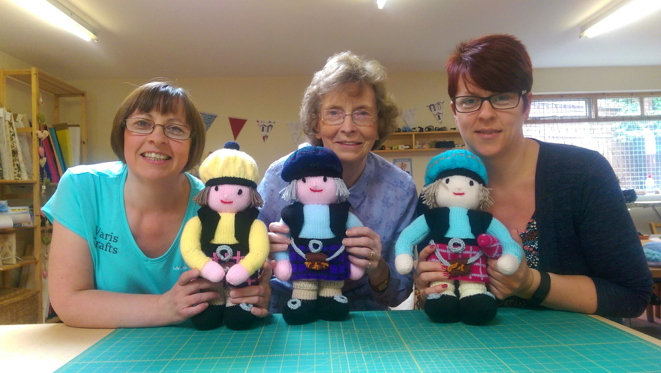 Sharon Robertson, Elizabeth Wood and Natalie Whyte have all helped knit the pipers.