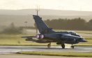 A Tornado GR4 on its take-off run at RAF Lossiemouth.