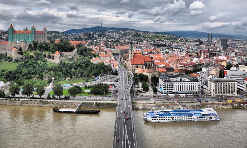 Bratislava, set along the Danube
