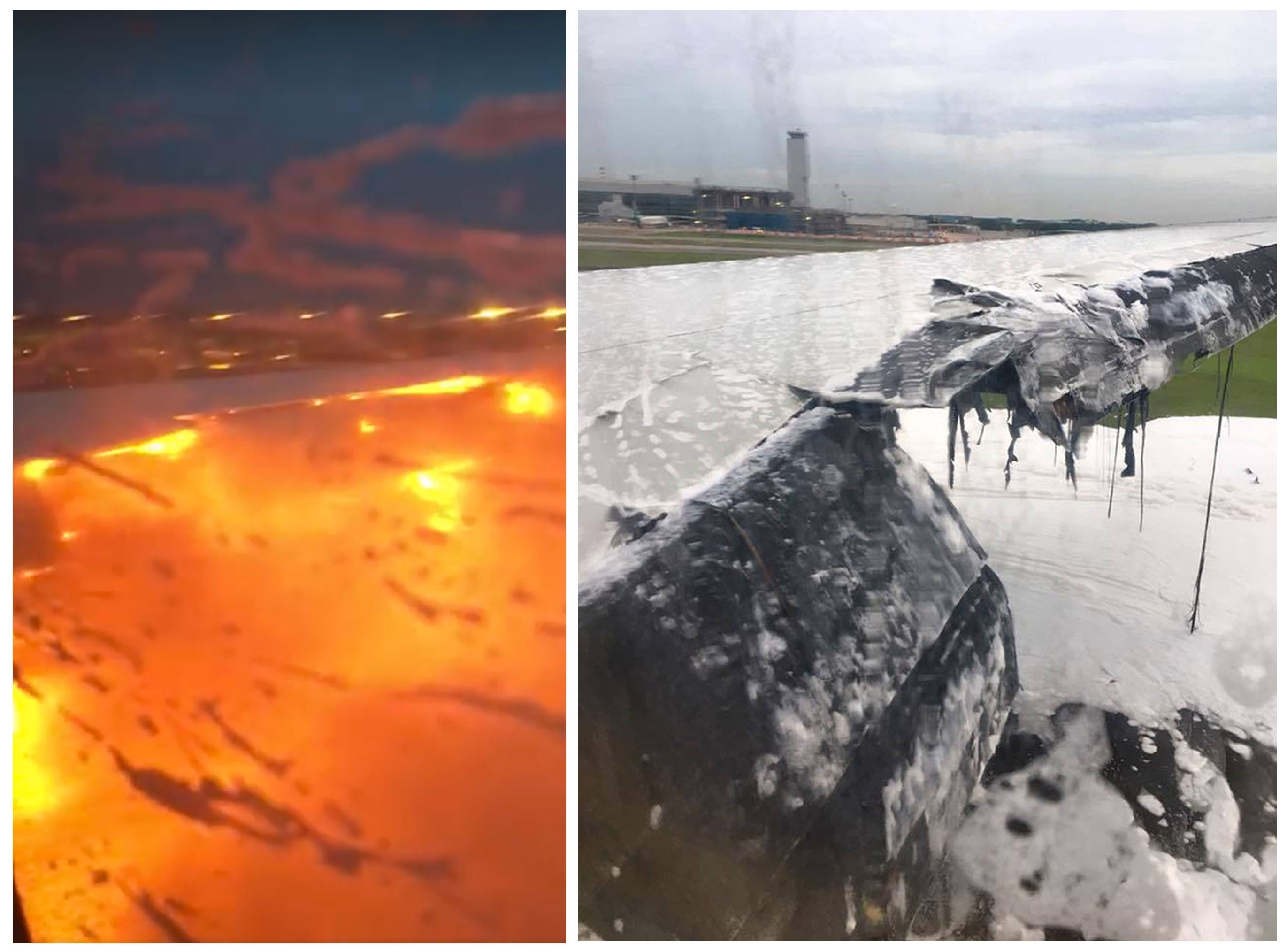 Images of the wing on fire (left) and after (right)
