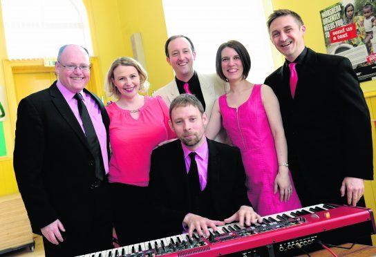The Flying Pigs, from left: Greg Gordon, Elaine Clark, Craig Pike, Steven Rance, Susan Gordon and John Hardie