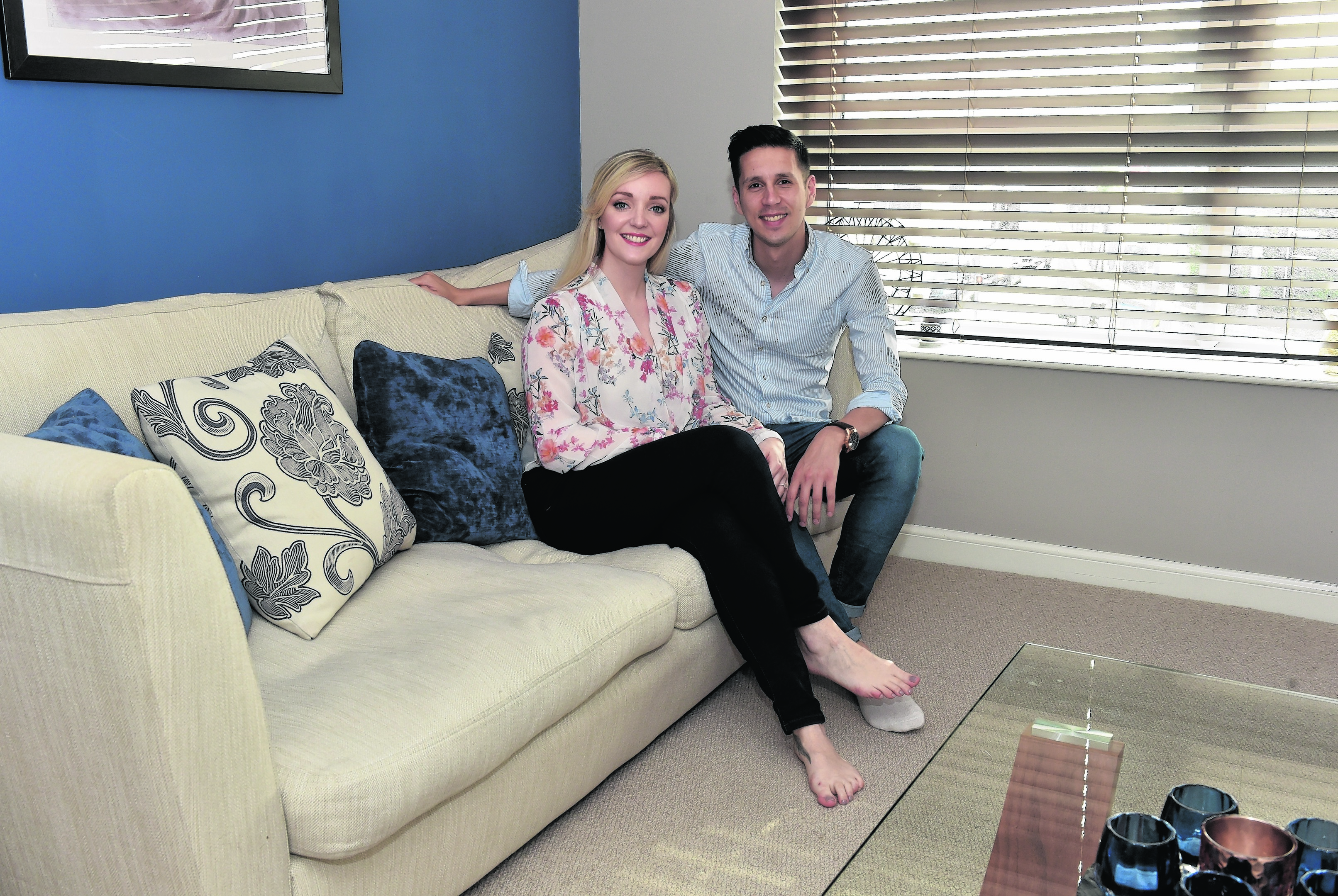Home - 366C King Street, Aberdeen. Charlotte Bird with fiancee Martin. Picture by COLIN RENNIE May 29, 2016.