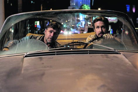 Russell Crowe as Jackson Healy with Ryan Gosling as Holland March in new buddy action movie The Nice Guys