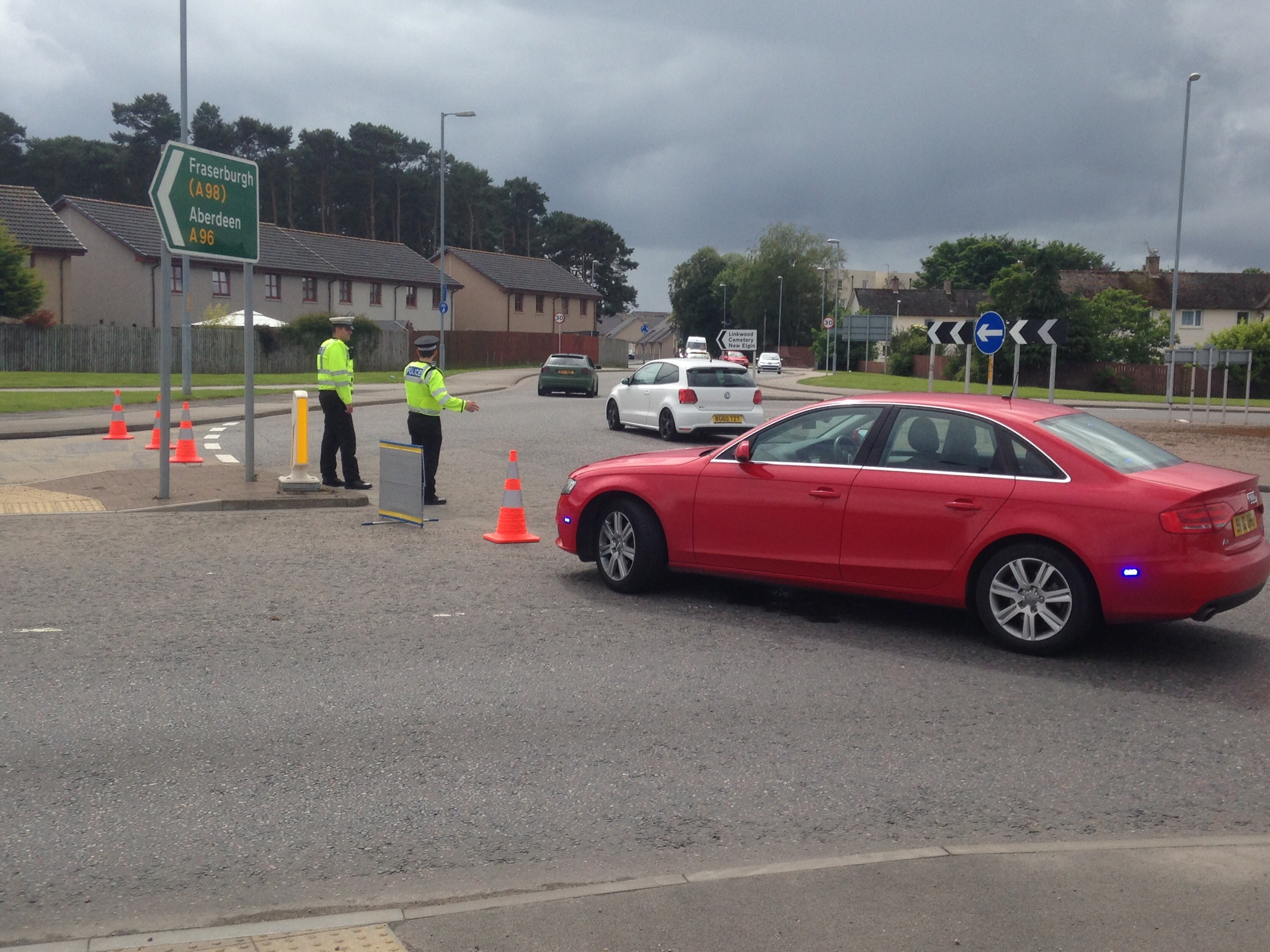 The scene of the leak on the A96