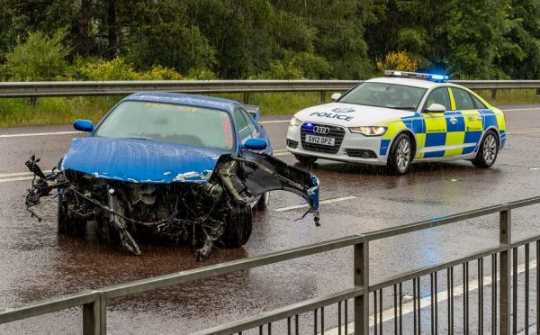 A one-car crash caused delays on the A96 earlier today.