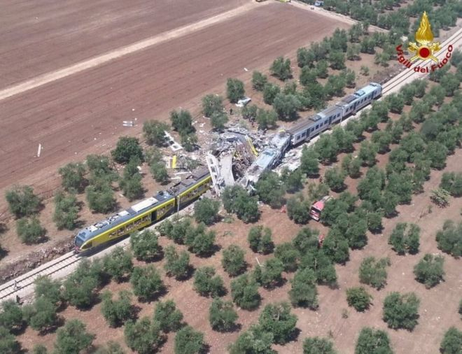 The crash site where two trains collided on a single-track stretch between Ruvo di Puglia and Corato
