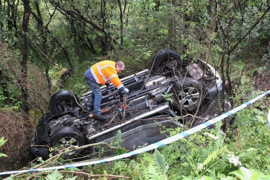 Mags Stewart's upturned car after her crash on the A82
