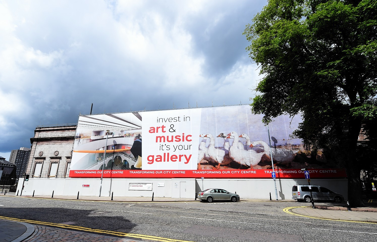 The gallery has been covered in a 12 metre high wrap