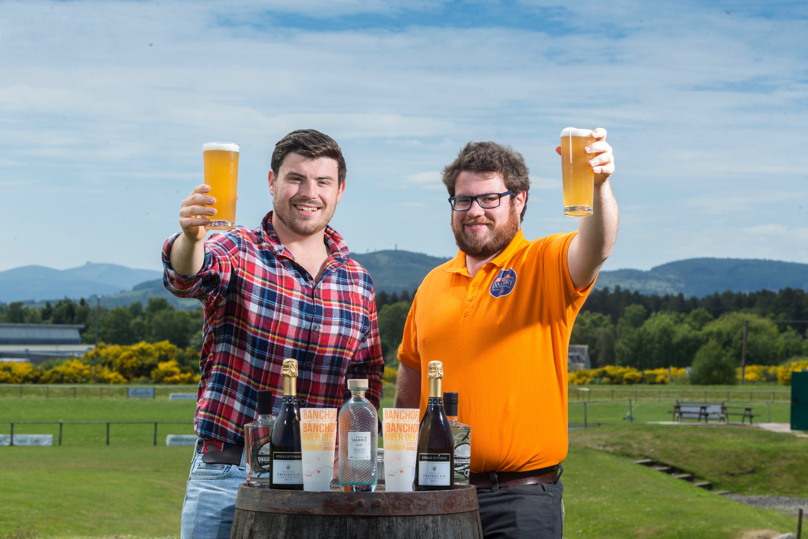 Guy (checked shirt) and Mungo Finlayson (MFGF Events) who run the Banchory Beer Festival