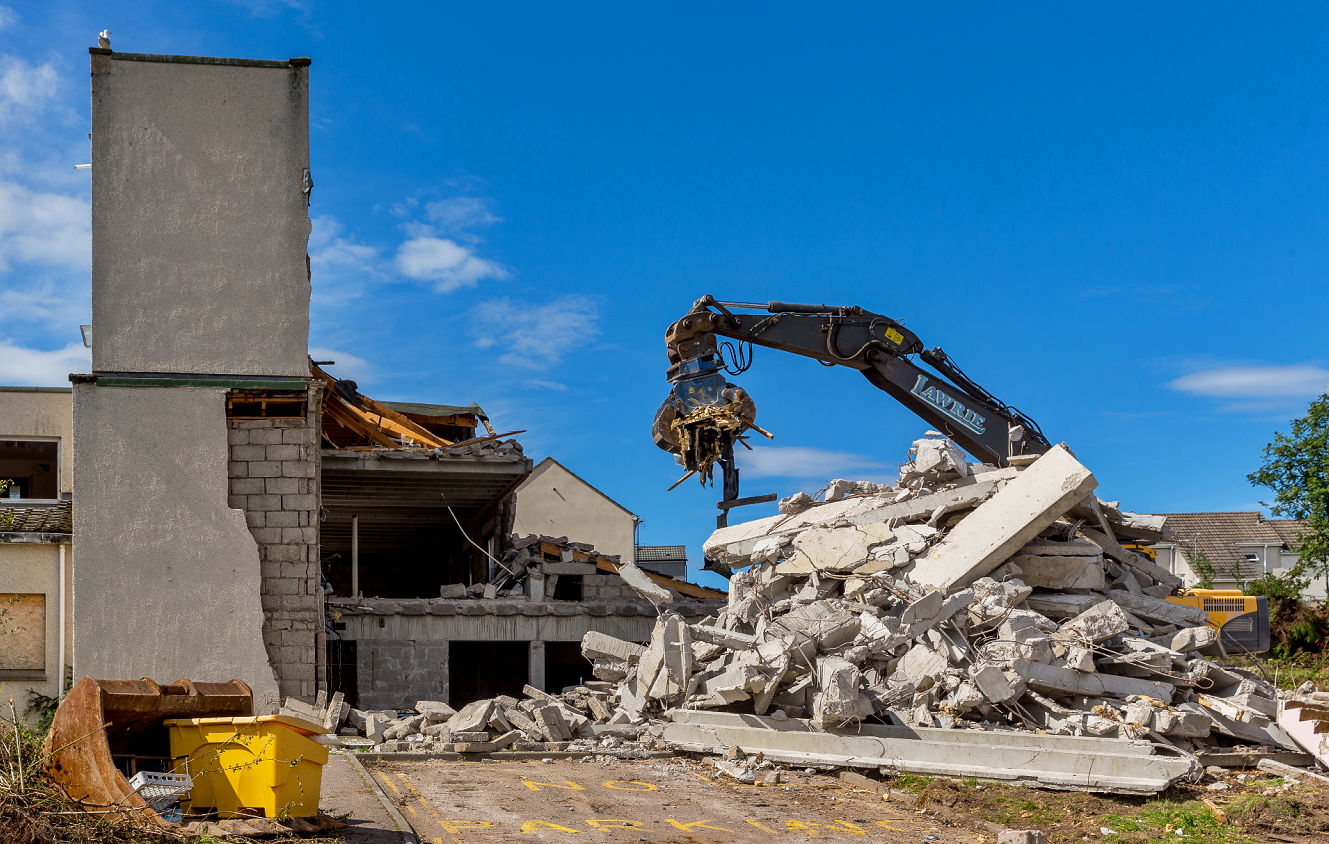 Demolition at Bishopmill House is expected to be finished before the end of August.