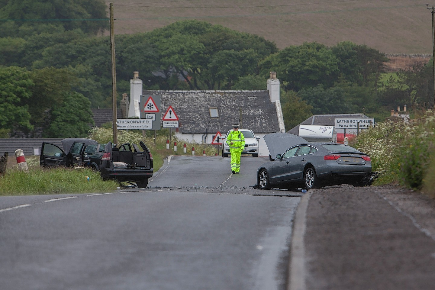 The two-car accident on the A9, just north of the village of Latheronwheel