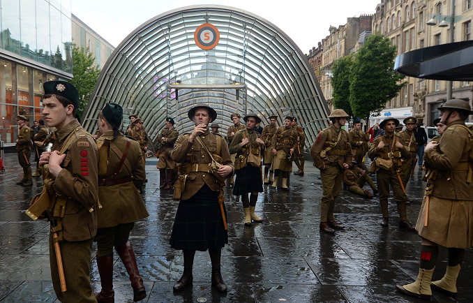People dressed as soldiers as part of a mysterious tribute to mark the centenary of the Battle of the Somme that has popped up in Glasgow