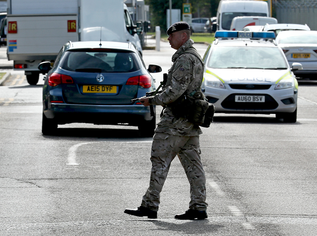 An armed guard at RAF Marham in Norfolk, after a serviceman was threatened with a knife near to the base