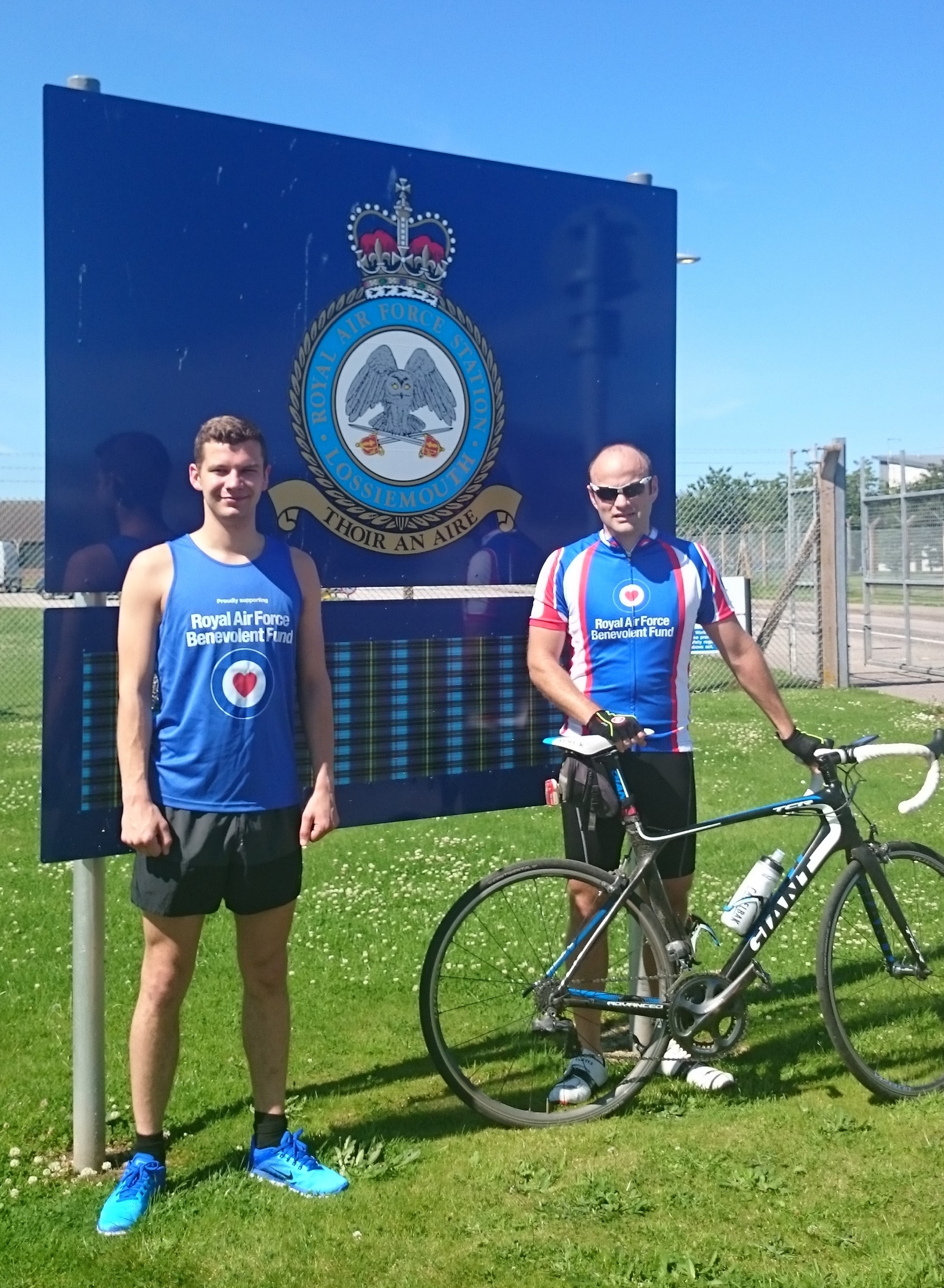 Danny Parsons and Mike Tyrer outside RAF Lossiemouth.
