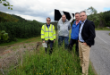 From left: Dave Malpas, senior engineer traffic for Moray Council, Cllr Mike McConnachie, George Tulloch, and MSP Richard Lochhead beside the steep drop alongside the B9014, Dufftown to Keith road. Gordon Lennox