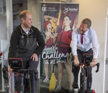 The Earl of Wessex and ScotRail Alliance managing director Phil Verster sharing a joke during their cycle challenge