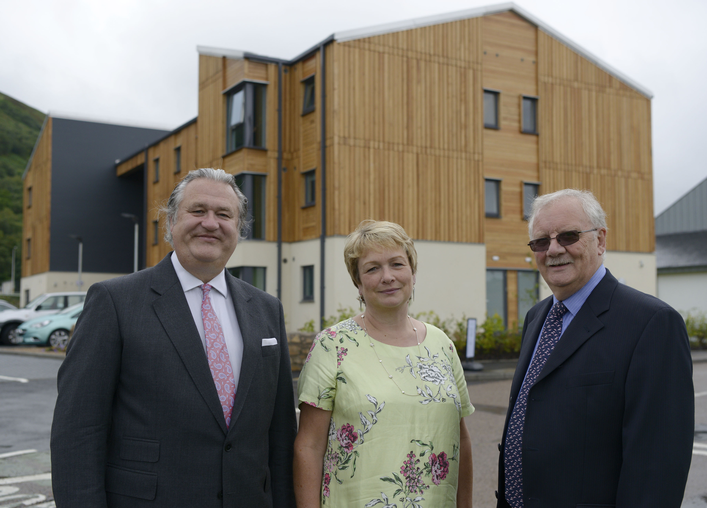 Patrick Hughes (left), of Cityheart, with Fiona Larg, of UHI, and Alan Ashworth, of West Highland College UHI, at the new student accommodation