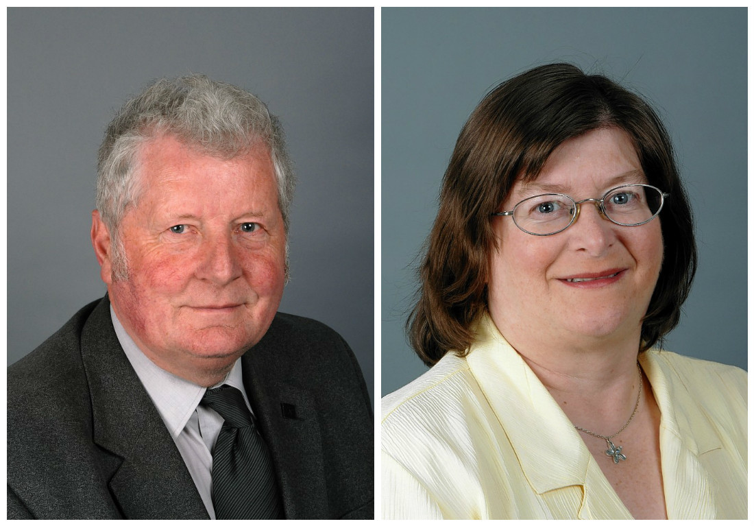 Care charge opponent Norman Smith and social work committee chairwoman Anne Allan.
