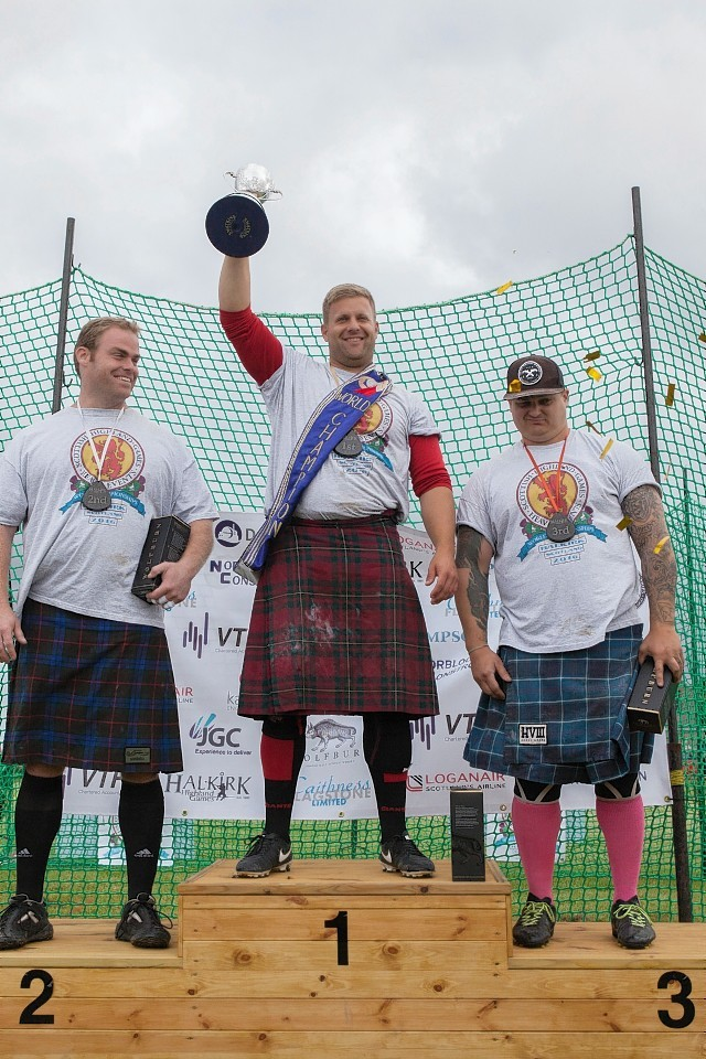 Scott Rider, Wimington, London, tops the podium at the World Highland Games Heavy Events , picture by Robert Macdonald