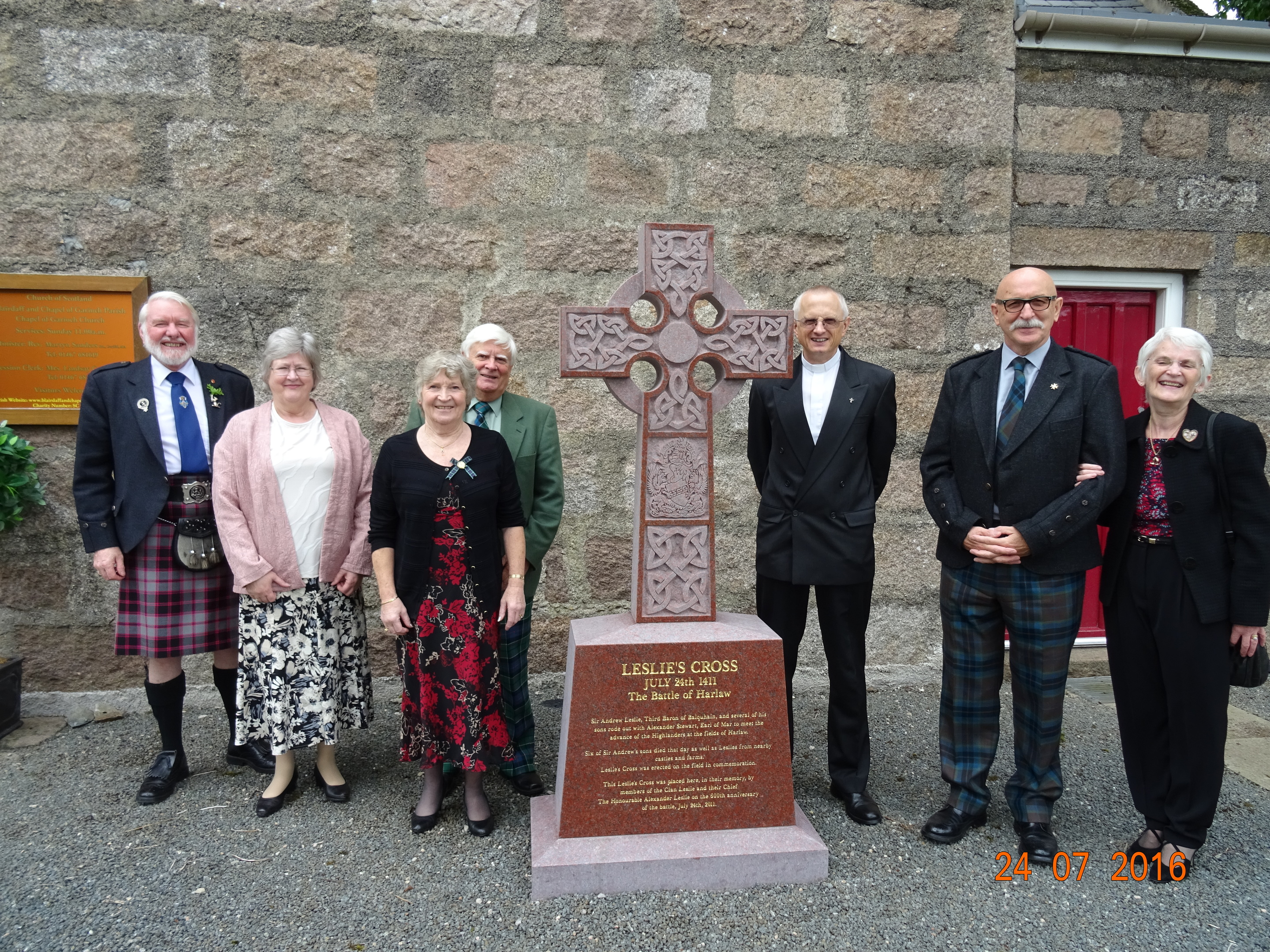 The Battle of Harlaw service was held at Chapel of Garioch Church yesterday, Pictured: (L-R) Norman and Mary MacPhearson, Leslie and David Leslie, Rev Martyn Sanders, and Albert and Linda Thompson. Credit: Angela Hogg.