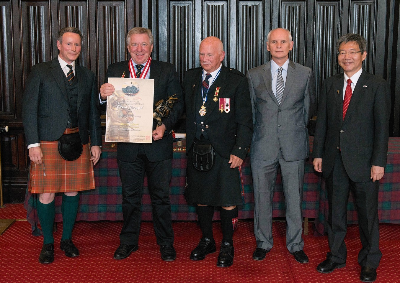 Martin Gilbert receives his Scottish Samurai award