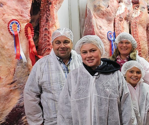 The Ross family with their champion carcase