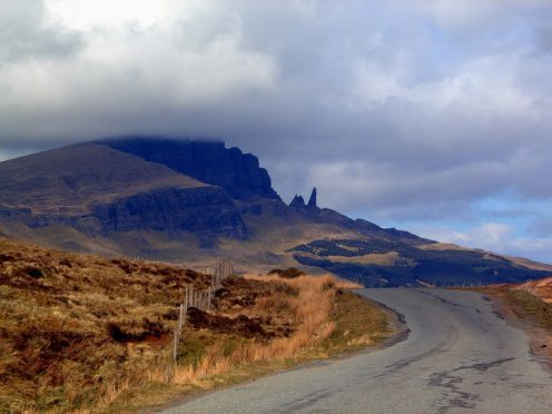 The woman, in her 40s, was with a companion when she suffered a leg injury at the Old Man of Storr