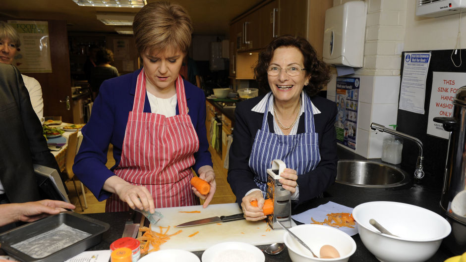 Nicola Sturgeon (left) announced the re-appointment of Naomi Eisenstadt (right) as the Scottish Government's independent poverty adviser for another year