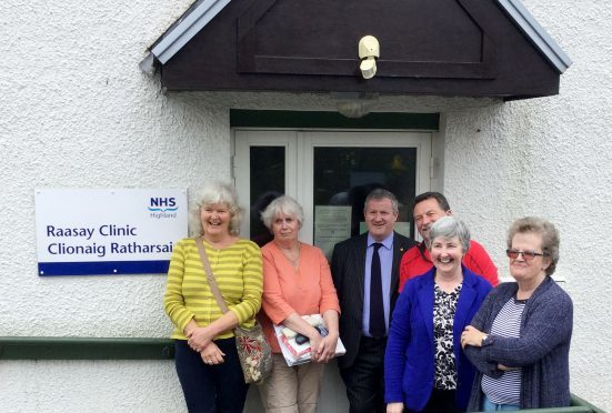 Members of Raasay Community Council after apeaking with MP Ian Blackford about the need for a nurse on the island.