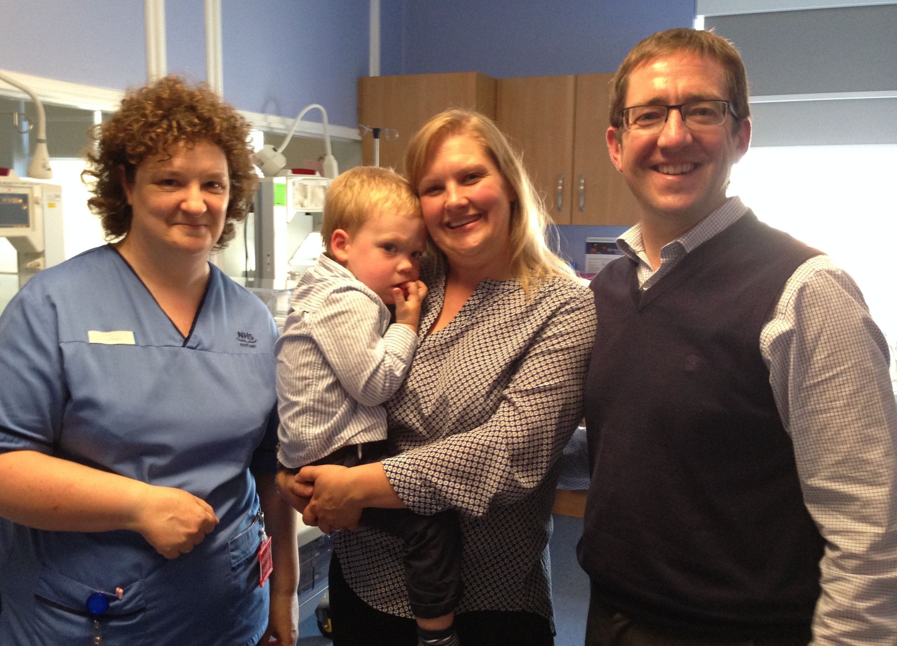 Staff midwife Jane Elliot with Alexander, Megan and Alan Mackenzie at SCBU