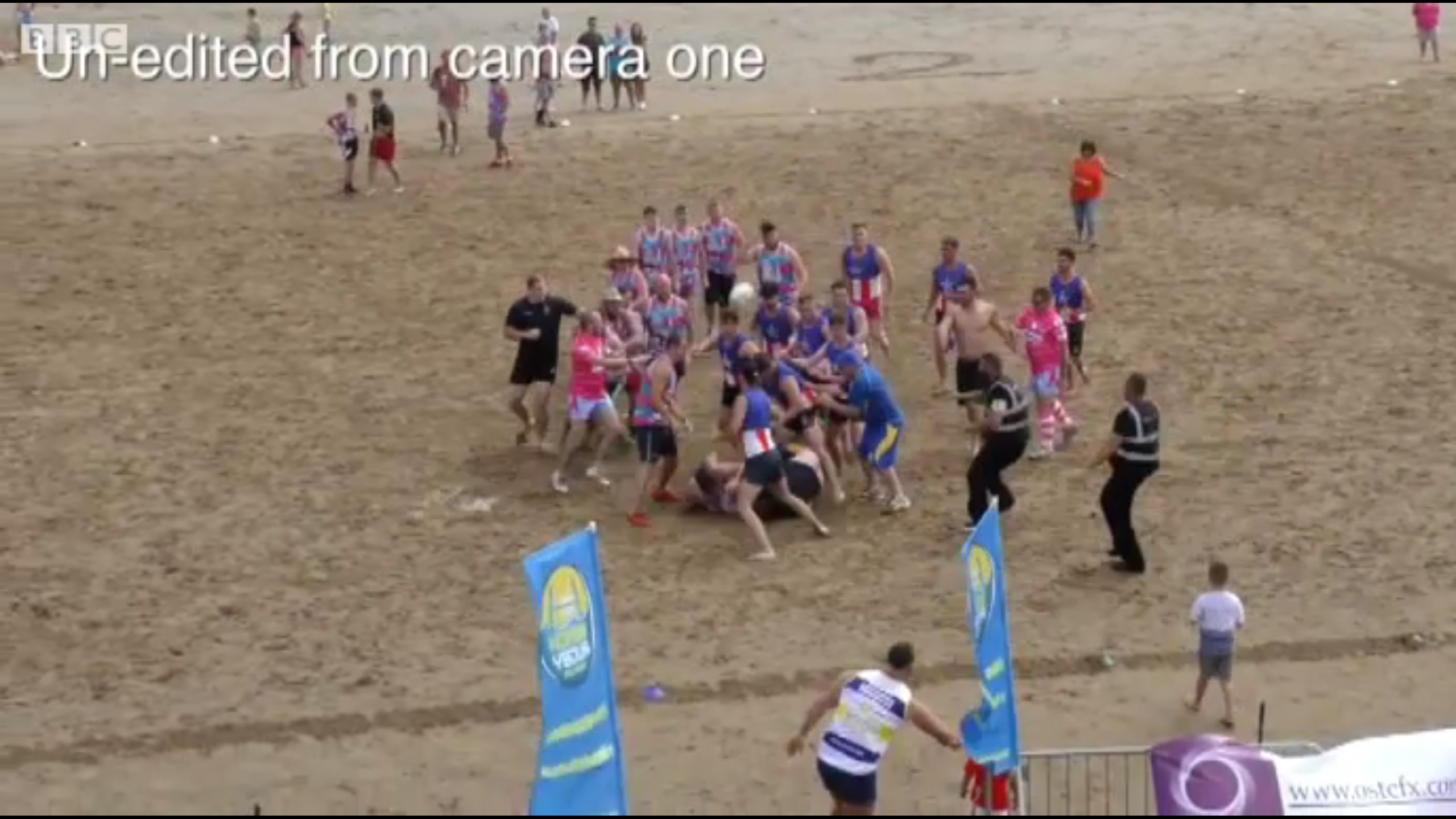 Beach rugby match sparks mass brawl