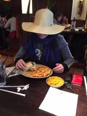"""Steph Inglis """"in disguise"""" at Nando's"""