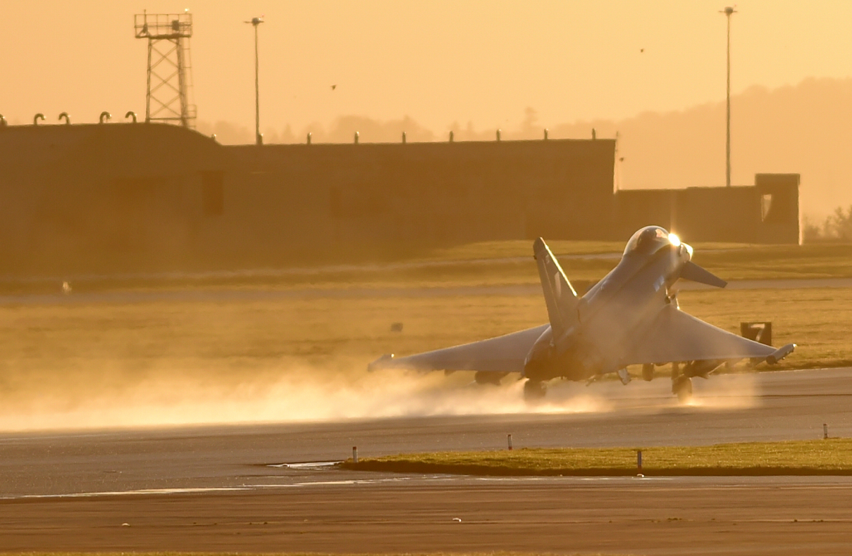 A Typhoon jet takes off from RAF Lossiemouth.