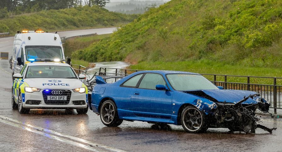 Police were called to a one-car crash on the A96 earlier today.
