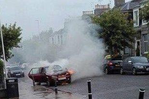 Fire crews were called to a car blaze in Aberdeen.
