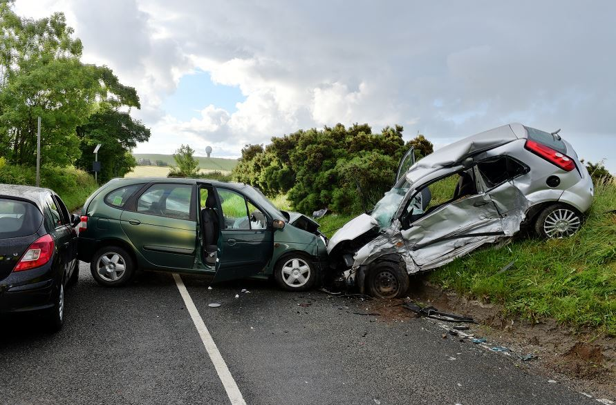 A man has escaped with minor injuries following a three-car smash in Aberdeen. (Picture: Kami Thomson).