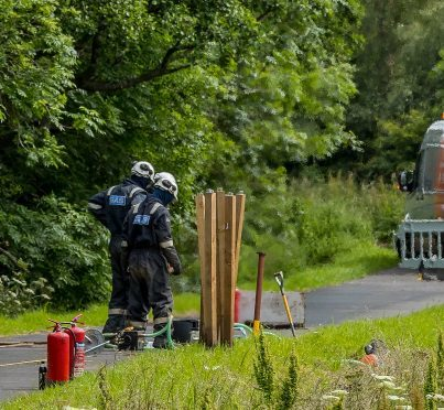 Pictures of the gas leak on the A96 in Moray
