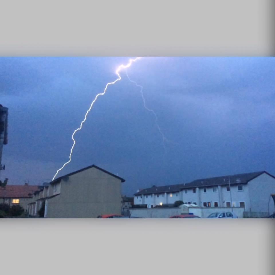 Lightning strikes over Buckie