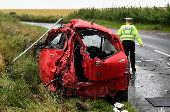 A man was killed following a crash between a car and a lorry on the B979 road, near Westhill. (Picture: Kenny Elrick)