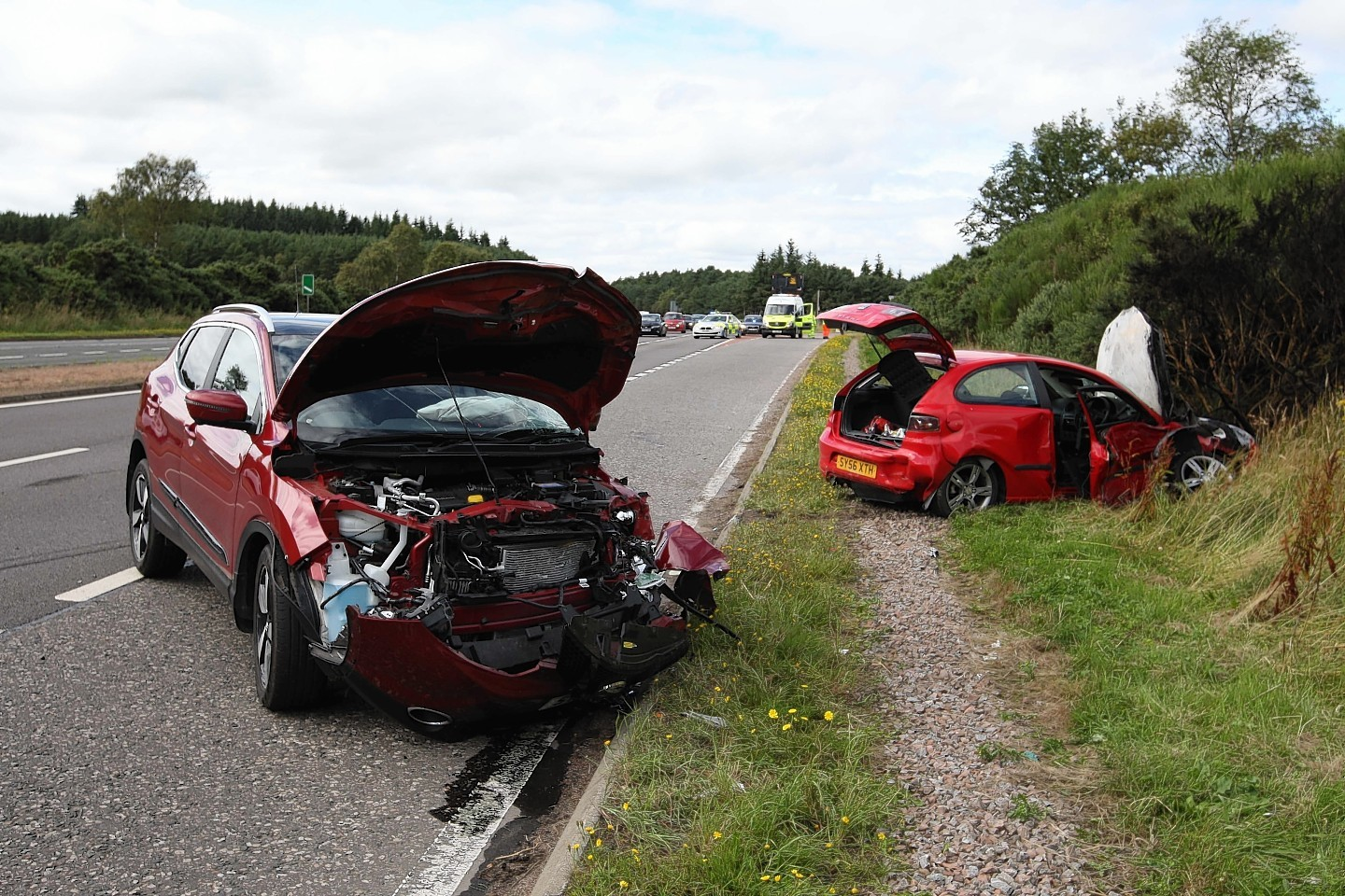 The scene of the accident on the A9 near the Munlochy junction