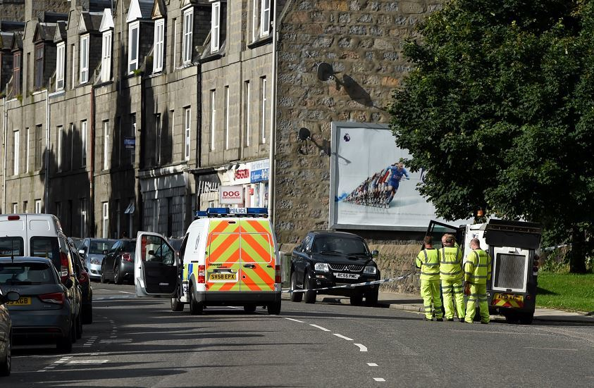 Police Scotland at the scene on Great Northern Road, Aberdeen. Picture: Kenny Elrick.